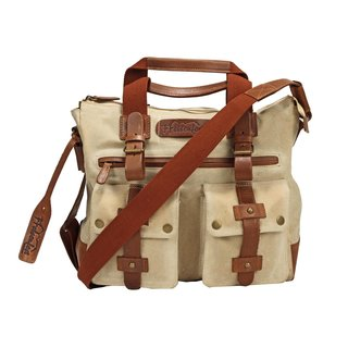 Ffelsenfest Vintage Canvas Business Tasche Offwhite Iy6bfY7gv