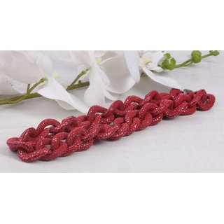 Halskette Rochenleder Red Chain, Polished Shiny / 30x20mm / Small Wavy / 52cm
