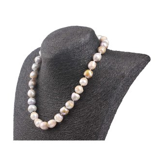 Halskette Champagne,  and White colored baroque shape fresh water Pearl 13mm / 47cm