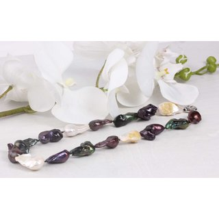 Halskette Multi Color baroque Freshwater Pearl 28x15mm / 48cm