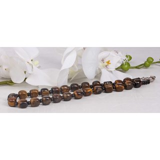 Halskette Tigers Eye Natural Gemstone w / black stone 15mm / 50cm