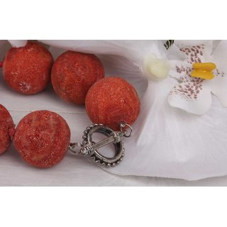 Halskette Round Bead Red sponge coral natural gem stone 20mm / 46cm