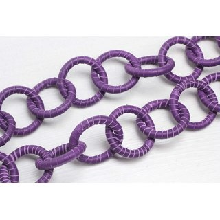 Halskette Nappa Leather Wrapped Chain / 44mm , Violet / Ring / 92cm