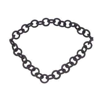 Halskette Nappa Leather Wrapped Chain / 35mm , Black / Ring / 92cm