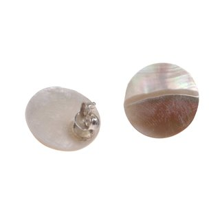 Abalone Muschel Cabochon Cut,Flat Round White 18mm with Ear Studs Silver