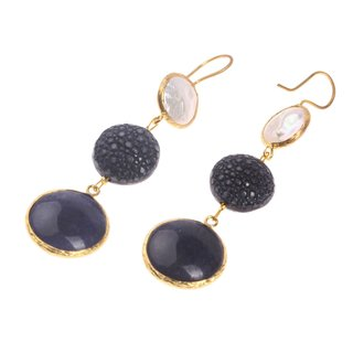 Rochenleder Ohrringe Flat Round,Navy Blue Polished,Pearl and Stone Agate coated with Brass Gold Plated 76mm