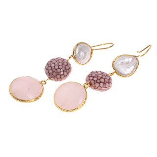 Rochenleder Ohrringe Flat Round,Ash Rose Polished,Pearl and Stone Agate coated with Brass Gold Plated 76mm