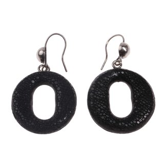 Rochenleder Ohrringe Eye Shape Calar Black Polished Ohrringe,925 Sterling Silver 32mm