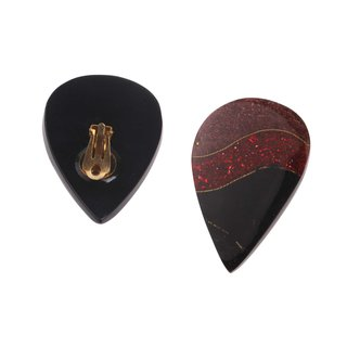 Ohrclips Harz Ohrringe Teardrop Design,Black/Red 45mm