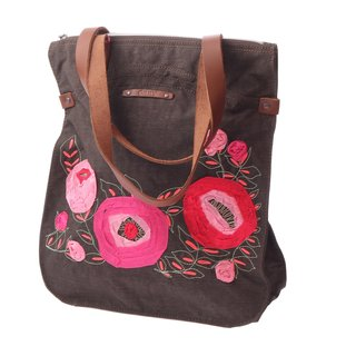 Oilily Flower Tapes Shopper - Brown